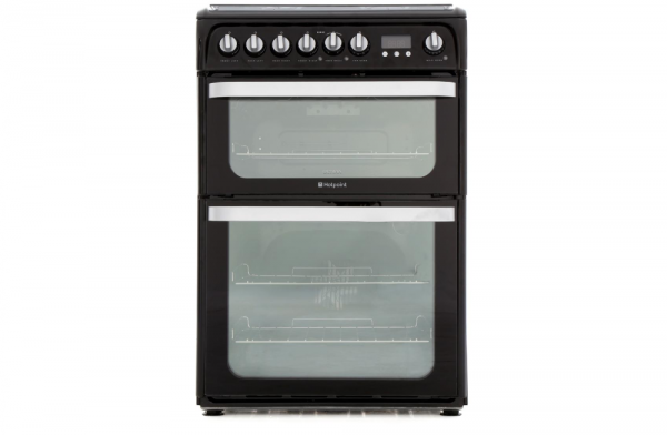 Hotpoint 60cm Black Dual Fuel Cooker
