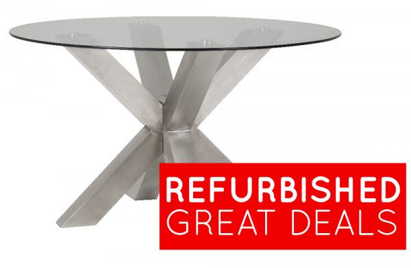 Refurbished New York Metal And Glass Dining Table