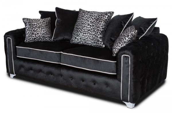 Lux Black 3 Seater Sofa