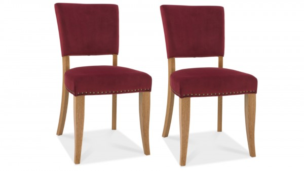 Ivy Upholstered Crimson Chair Pair