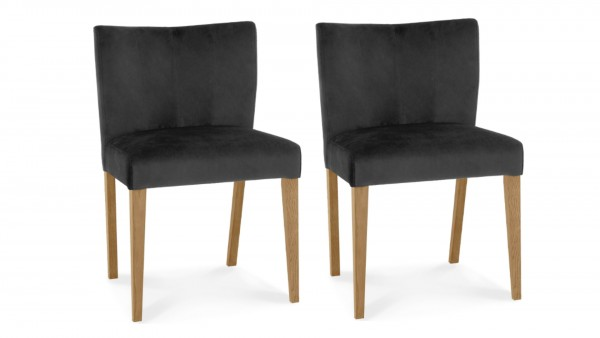 Lucie Low Back Upholstered Chair Gun Metal Pair