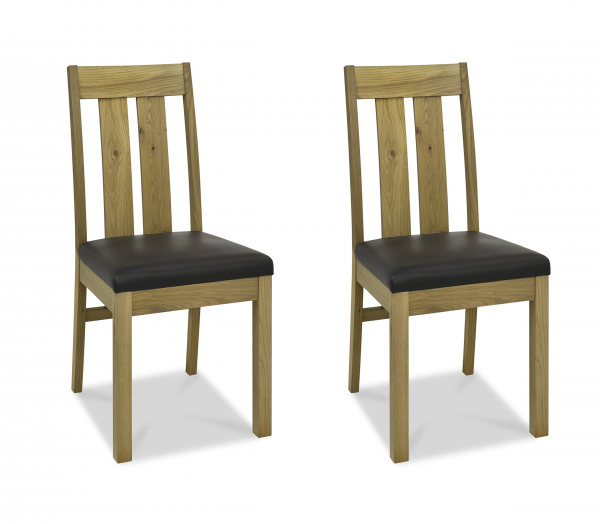 Lucie Oak Slatted Chair Pair