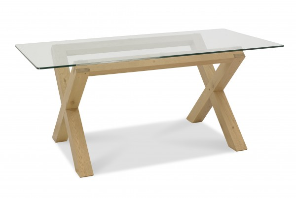 Turin Light Oak Glass Dining Table