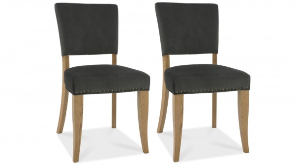 Ivy Upholstered Gun Metal Chair Pair