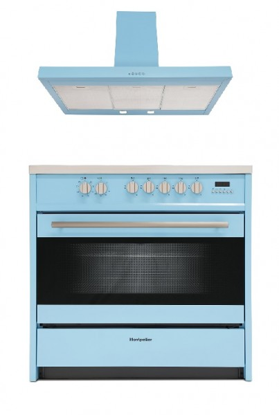 Montpellier 90cm Pale Blue Dual Fuel Range Cooker and Cooker Hood