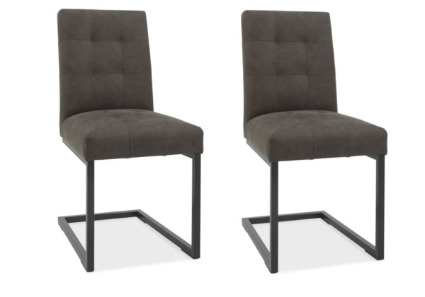 Ivy Upholstered Cantilever Grey Faux Leather Chair Pair