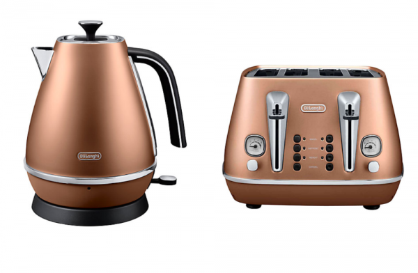 Delonghi Distinta Kettle and Toaster Copper
