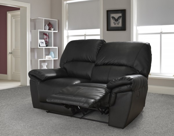 Mississippi 2 Seater Black Sofa
