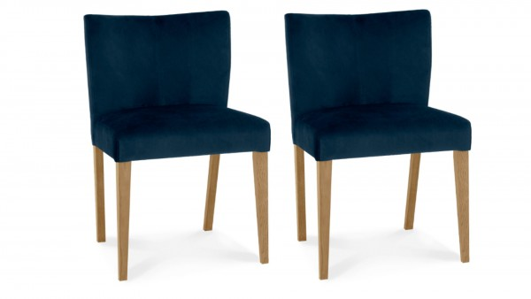 Lucie Low Back Upholstered Chair Dark Blue Pair