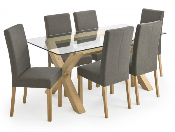 Turin Glass 6 Chair Dining Package