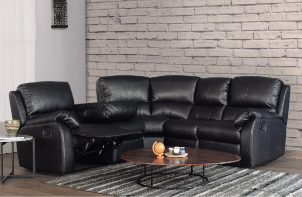Cassis Recliner Corner Suite Black