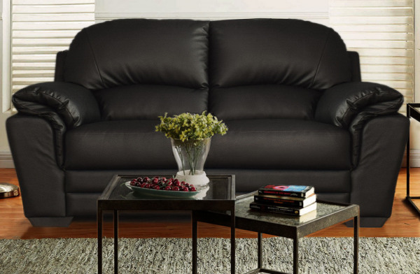Nevada 2 Seater Black Sofa