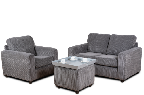 Jayden Grey 3 Piece Sofa Set