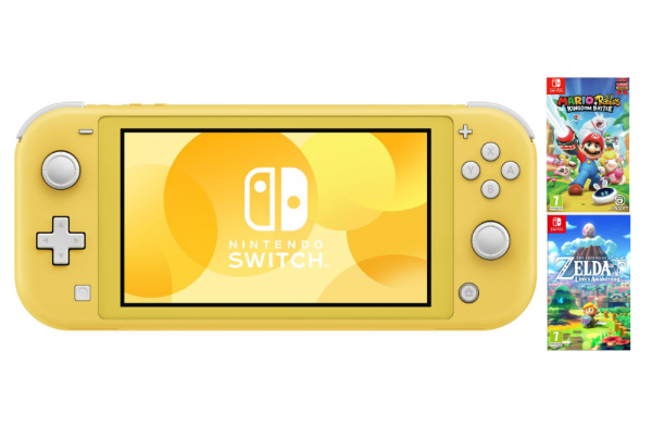 Nintendo Switch Lite Yellow & Mario & Rabbids Kingdom & The Legend Of Zelda: Link's Awakening