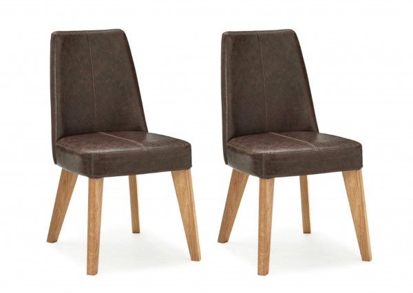Victoria Oak Upholstered Chair Pair