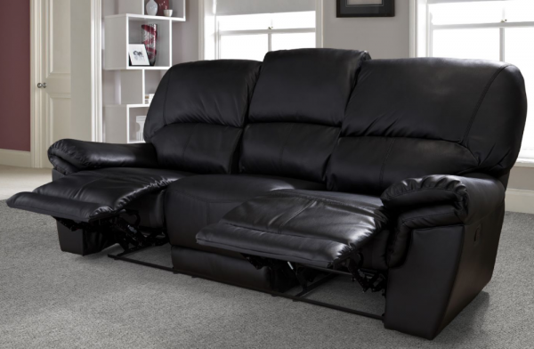 Mississippi 3 Seater Black Sofa