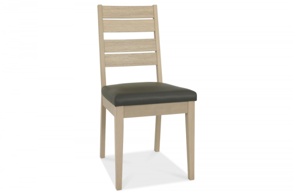 Olivia Slatted Oak & Dark Grey Chair Pair