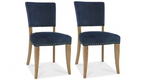 Ivy Upholstered Dark Blue Chair Pair