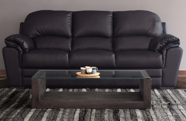 Nevada 3 Seater Black Sofa