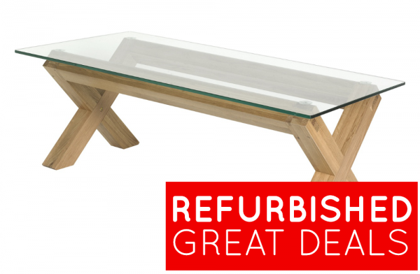 Refurbished Lyon Oak Glass Coffee Table