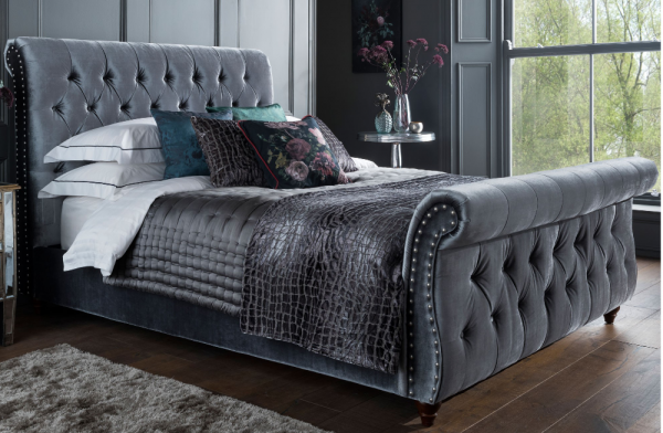 Belle Titanium Velvet King Bed